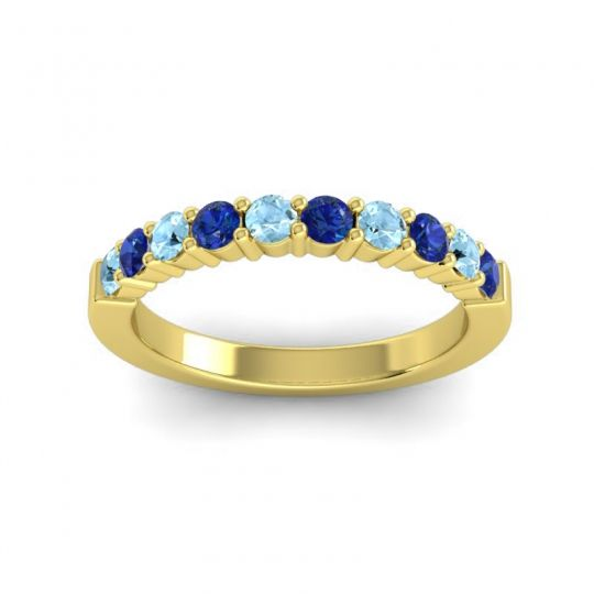 Blue Sapphire Classic Ardha Band with Aquamarine in 18k Yellow Gold