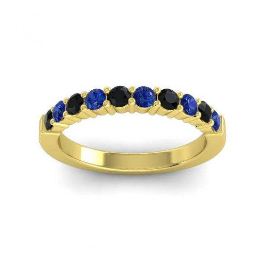 Blue Sapphire Classic Ardha Band with Black Onyx in 18k Yellow Gold