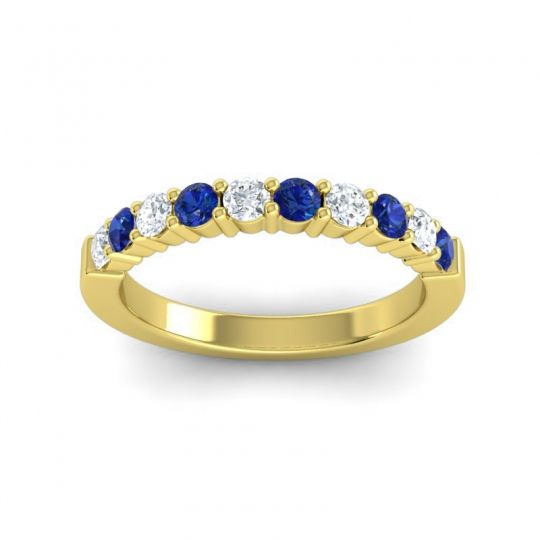 Blue Sapphire Classic Ardha Band with Diamond in 14k Yellow Gold