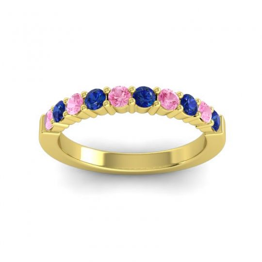 Blue Sapphire Classic Ardha Band with Pink Tourmaline in 14k Yellow Gold