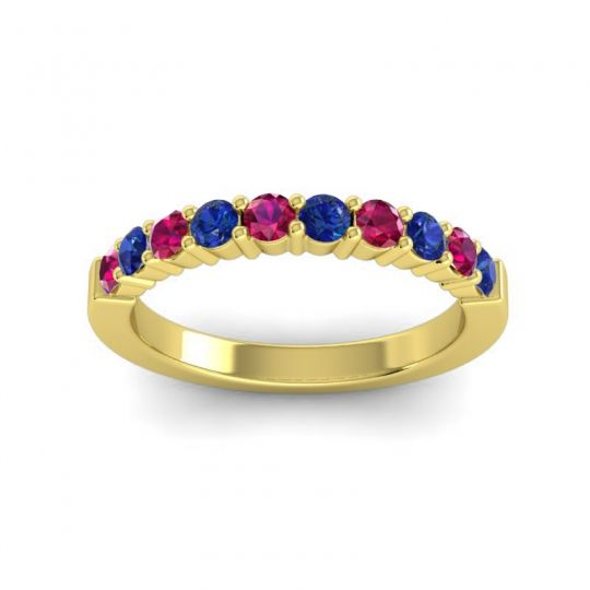 Classic Ardha Blue Sapphire Band with Ruby in 18k Yellow Gold