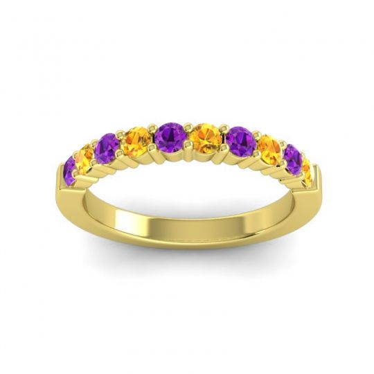 Citrine Classic Ardha Band with Amethyst in 14k Yellow Gold