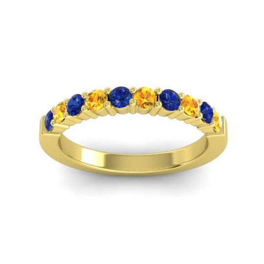 Citrine Classic Ardha Band with Blue Sapphire in 14k Yellow Gold