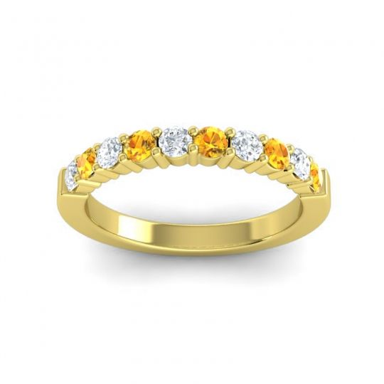 Citrine Classic Ardha Band with Diamond in 14k Yellow Gold