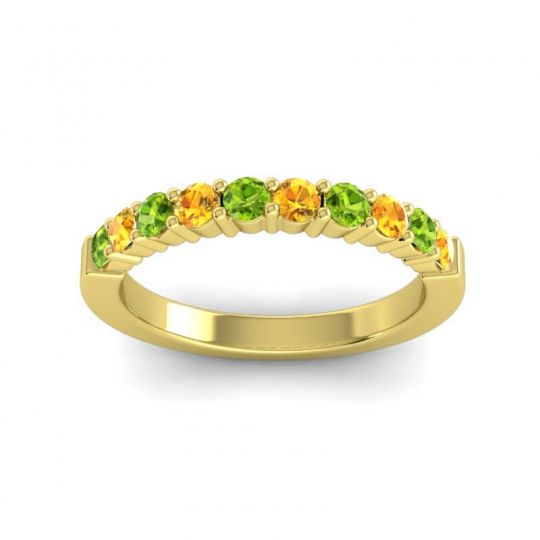 Citrine Classic Ardha Band with Peridot in 14k Yellow Gold