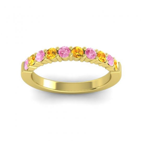 Citrine Classic Ardha Band with Pink Tourmaline in 14k Yellow Gold