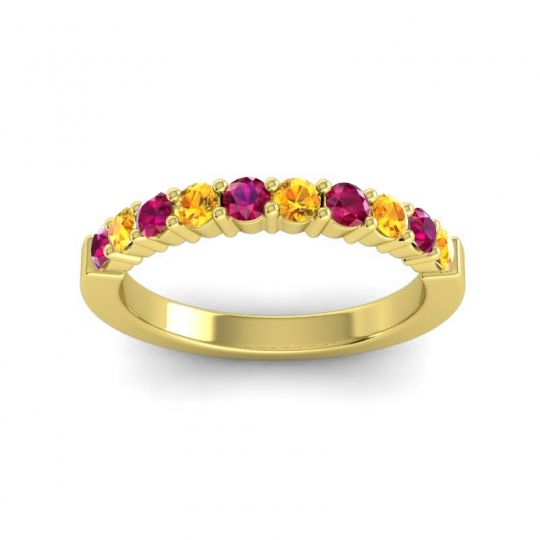 Classic Ardha Citrine Band with Ruby in 18k Yellow Gold