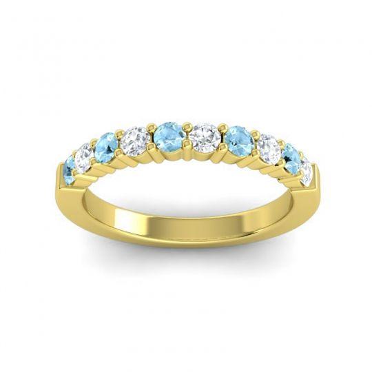 Diamond Classic Ardha Band with Aquamarine in 14k Yellow Gold