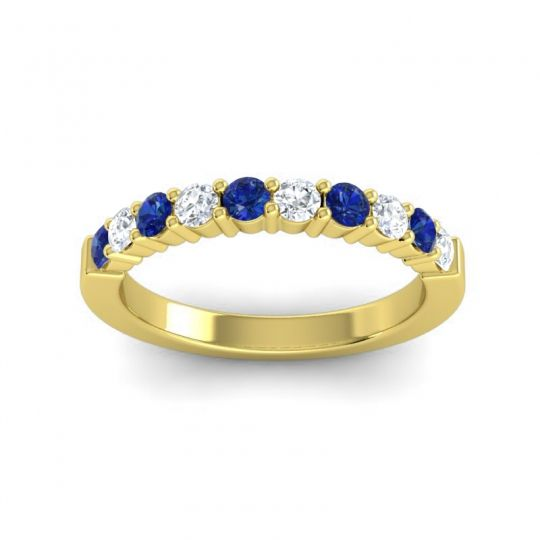 Diamond Classic Ardha Band with Blue Sapphire in 14k Yellow Gold