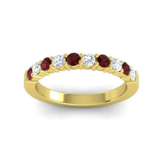 Diamond Classic Ardha Band with Garnet in 14k Yellow Gold
