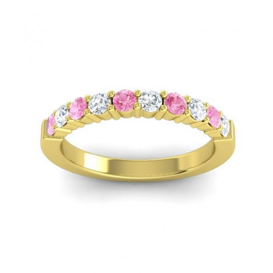 Classic Ardha Diamond Band with Pink Tourmaline in 14k Yellow Gold
