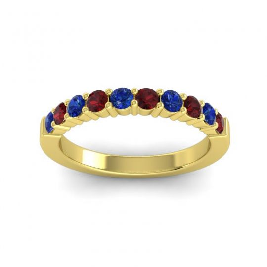 Garnet Classic Ardha Band with Blue Sapphire in 18k Yellow Gold