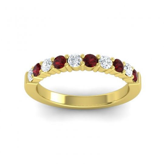 Garnet Classic Ardha Band with Diamond in 14k Yellow Gold