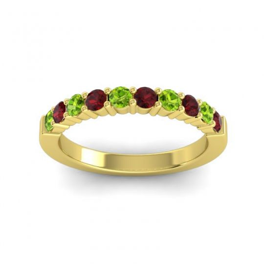 Garnet Classic Ardha Band with Peridot in 14k Yellow Gold