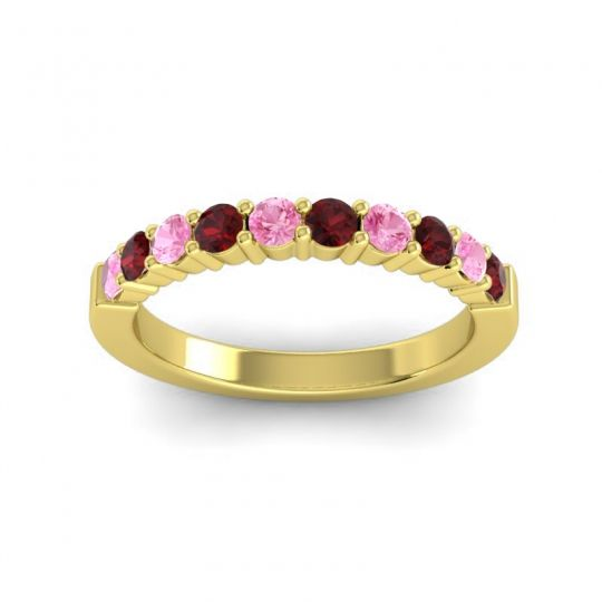 Garnet Classic Ardha Band with Pink Tourmaline in 18k Yellow Gold