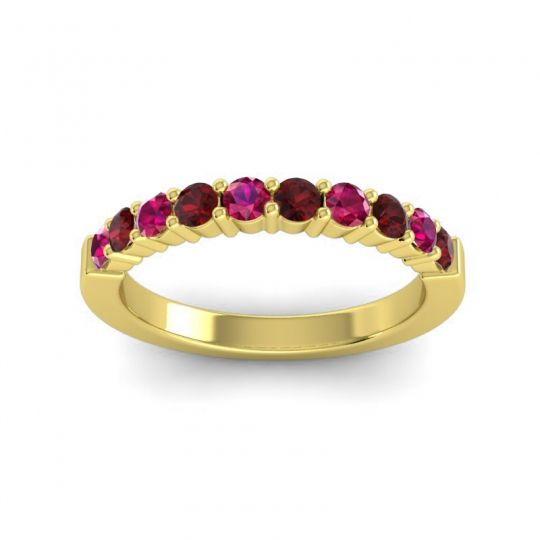 Garnet Classic Ardha Band with Ruby in 18k Yellow Gold