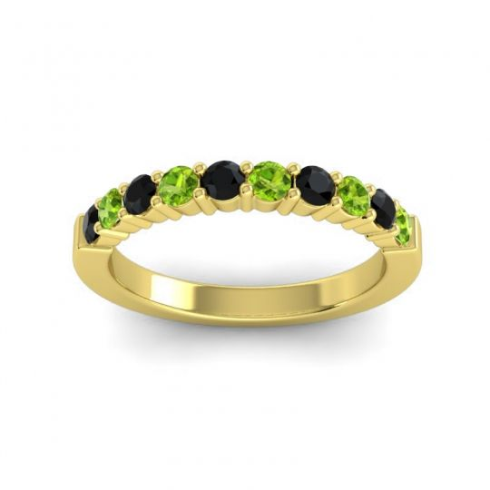 Peridot Classic Ardha Band with Black Onyx in 14k Yellow Gold