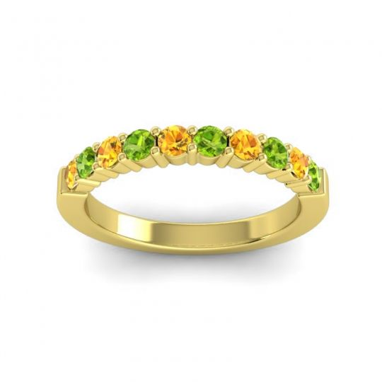 Peridot Classic Ardha Band with Citrine in 18k Yellow Gold