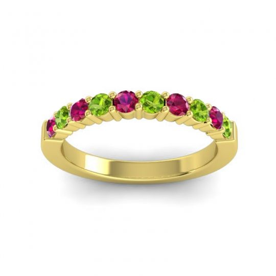 Classic Ardha Peridot Band with Ruby in 18k Yellow Gold