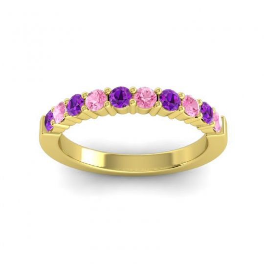 Pink Tourmaline Classic Ardha Band with Amethyst in 18k Yellow Gold