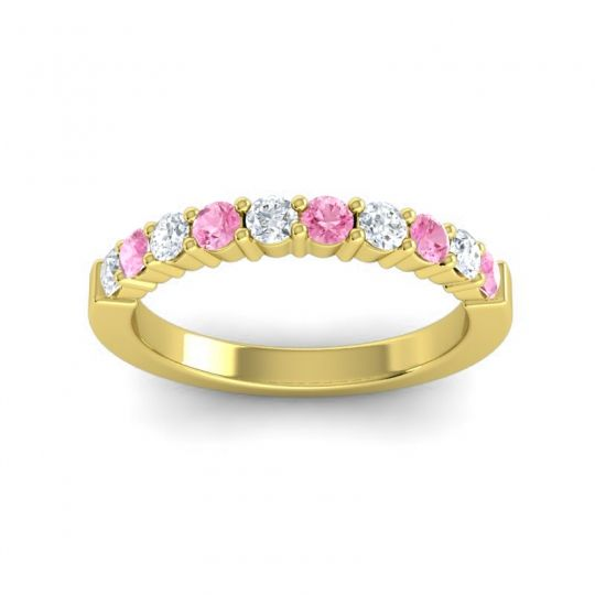 Pink Tourmaline Classic Ardha Band with Diamond in 14k Yellow Gold