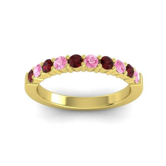 Pink Tourmaline Classic Ardha Band with Garnet in 18k Yellow Gold