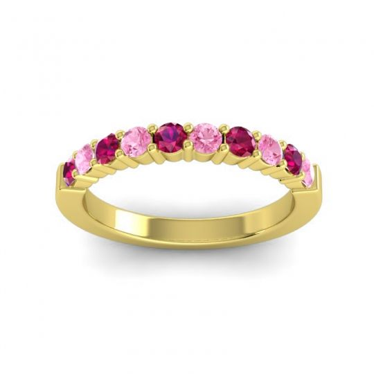 Pink Tourmaline Classic Ardha Band with Ruby in 18k Yellow Gold