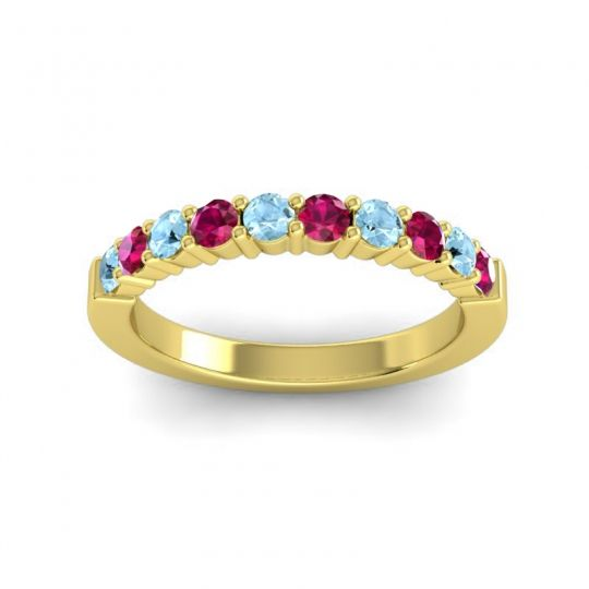 Ruby Classic Ardha Band with Aquamarine in 14k Yellow Gold
