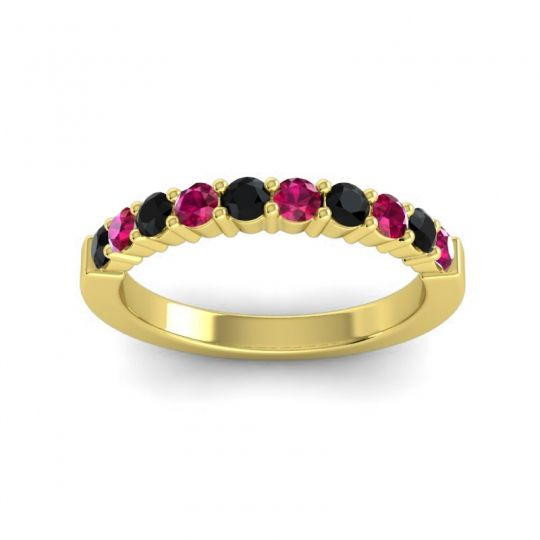 Ruby Classic Ardha Band with Black Onyx in 14k Yellow Gold