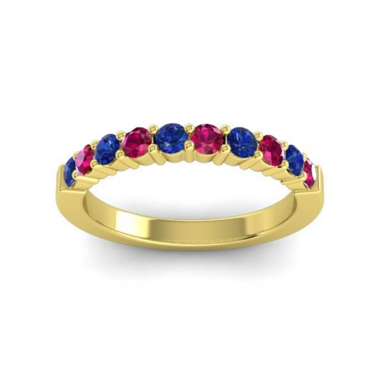 Ruby Classic Ardha Band with Blue Sapphire in 14k Yellow Gold