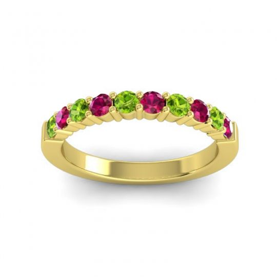 Ruby Classic Ardha Band with Peridot in 18k Yellow Gold