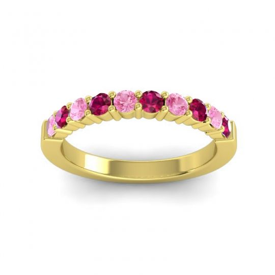 Ruby Classic Ardha Band with Pink Tourmaline in 18k Yellow Gold