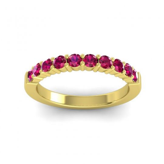 Ruby Classic Ardha Band in 18k Yellow Gold