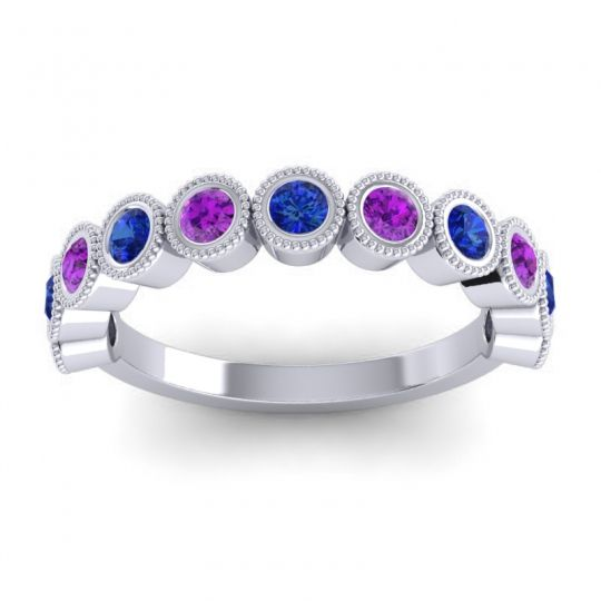 Blue Sapphire Half Eternity Rajati Band with Amethyst in 14k White Gold