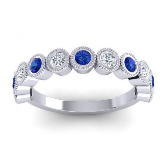 Half Eternity Rajati Blue Sapphire Band with Diamond in 14k White Gold