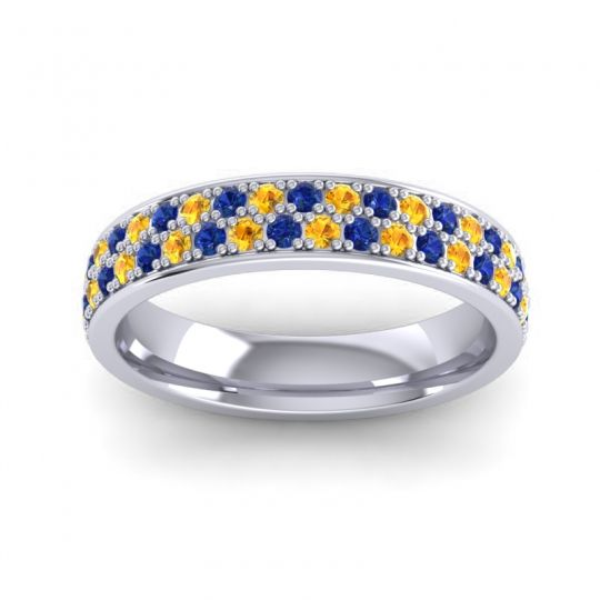 Blue Sapphire Eternity Sajja Band with Citrine in 14k White Gold