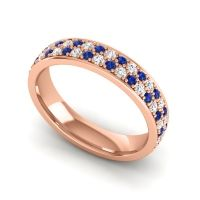 Blue Sapphire Eternity Sajja Band with Diamond in 14K Rose Gold