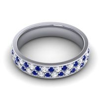Blue Sapphire Eternity Sajja Band with Diamond in 14k White Gold