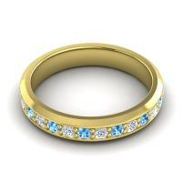 Swiss Blue Topaz Eternity Vatana Band with Diamond in 14k Yellow Gold