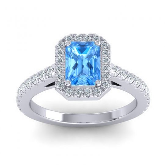 Halo Emerald Cut Asta Swiss Blue Topaz Ring with Diamond in 14k White Gold