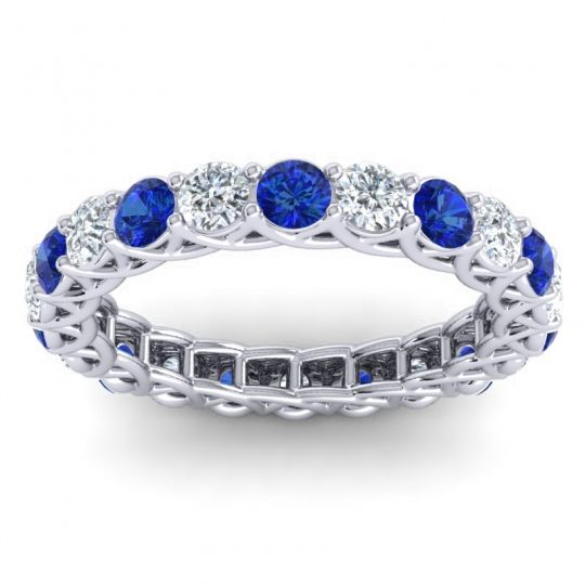 Eternity Mala Blue Sapphire Band with Diamond in 14k White Gold