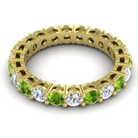 Peridot Eternity Zalara Band with Diamond in 18k Yellow Gold