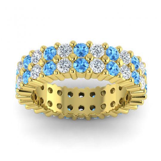 Swiss Blue Topaz Eternity Vistara Band with Diamond in 14k Yellow Gold
