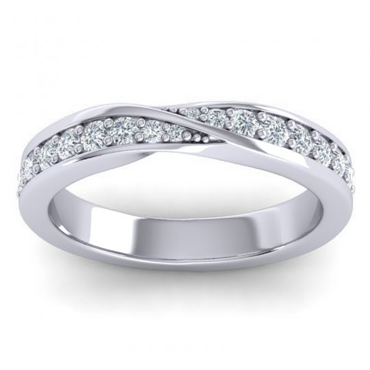 Diamond Hlaf Eternity Jati Band in Platinum