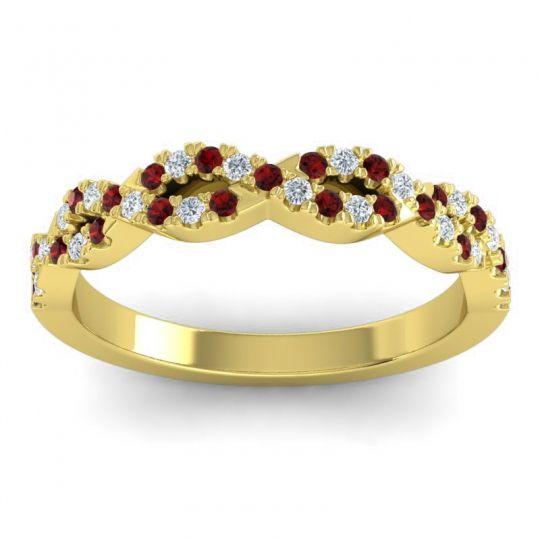 Garnet Half Eternity Priyala Band with Diamond in 18k Yellow Gold