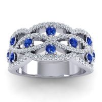 Blue Sapphire Classic Pave Jata Band with Diamond in 14k White Gold