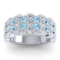 Aquamarine Modern Half Eternity Grantha Band with Diamond in 14k White Gold