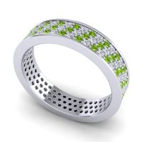 Peridot Eternity Pave Alocana Band with Diamond in 14k White Gold