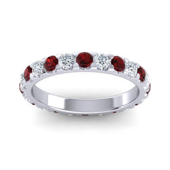 Garnet Eternity Prasada Band with Diamond in 18k White Gold