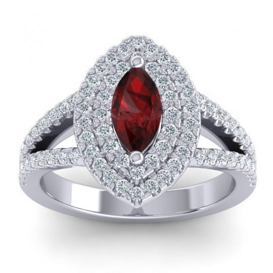 Halo Marquise Ulloca Garnet Ring with Diamond in 14k White Gold